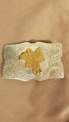 Vintage Justin Belt Company Nickel Silver Horse Saddle Belt Buckle