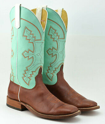 19d54c72dbb ANDERSON BEAN BOOT Company Cowboy Boots Size 8.5 D Turquoise Green Brown Usa