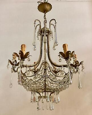 Vintage Crystal Beaded Chandelier With Murano Drops Rare