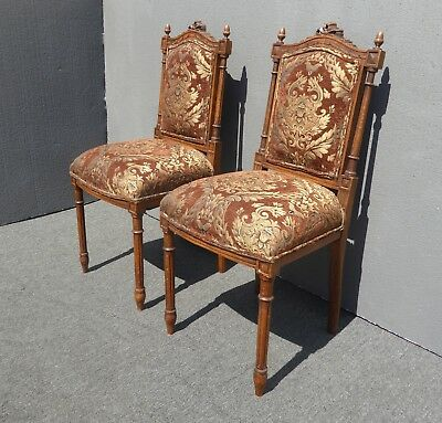Pair Vintage French Louis XVI Brown Accent Chairs ~ Ornately Carved Walnut
