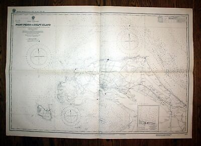 1940 Ceylon North Coast Point Pedro Delft Island Sri Lanka Asien map Karte plan