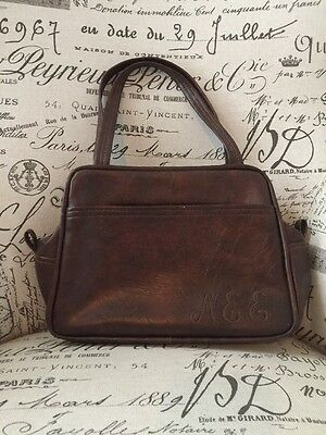 VTG 70's Leather Purse Monogrammed Initials AEE Plaid Lined Brown True Vintage