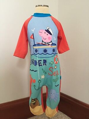 Peppa Pig Boys One Piece Swim Outfit SZ 3 Long Sleeved Protection Boat Water