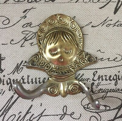 VTG 1968 American Tack & Howe Coat Hook Brass Indian Girl's Face Bust MCM Retro