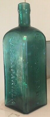 EARLY GREEN DOCTOR TOWNSEND'S SARSAPARILLA BOTTLE ALBANY N.Y. OCEAN FOUND 1870's