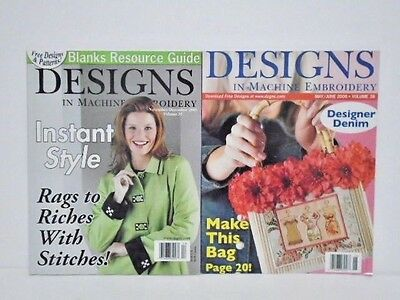 """Machine Embroidery Magazines (2) """"Designs in Machine Embroidery"""" VG Condition"""