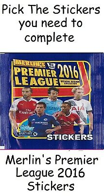 Merlin Premier League 2016 stickers. Pick the stickers you need Merlins Topps.