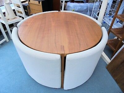 Dwell Rotunda Wood And Cream Modern Round Dining Room Table Chairs 4 Seater
