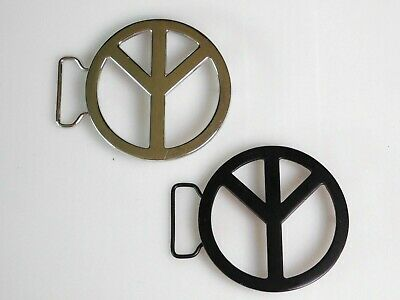 Peace Sign Belt Buckles (Lot of 2) Silver and Black