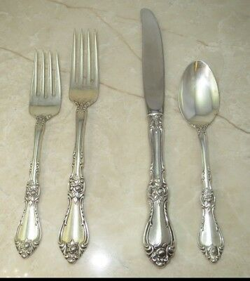 4-Piece Sterling Silver Flatware Setting Wallace Silversmith ROYAL ROSE Pattern
