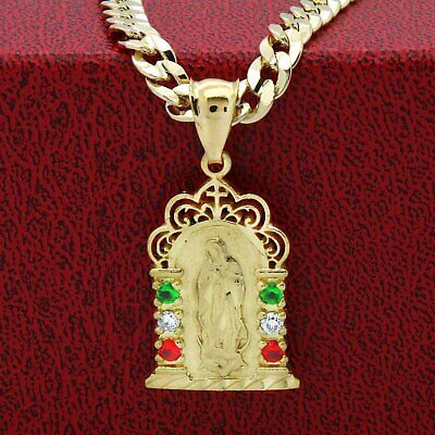 """Mens 18k Gold Plated Brass Mexican Color Guadalupe Pendant 6mm 24"""" Cuban Chain"""