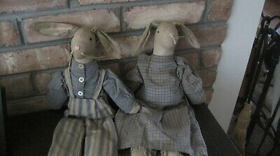Primitive antique Handmade Early Bunny Rabbit Doll  Pair  Easter