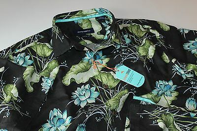 Tommy Bahama Camp Shirt Adriatic Garden Coal Black T316639 Silk New Large L