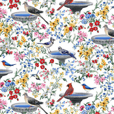 Birds of a Feather Quilt Fabric Birdbaths Style 9008//99 Black Multi