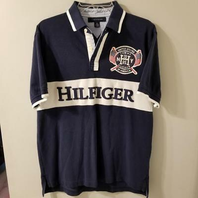434327af Vintage Tommy Size Medium Hilfiger Polo Shirt Spell Out Flag Rugby 90's  Sailing