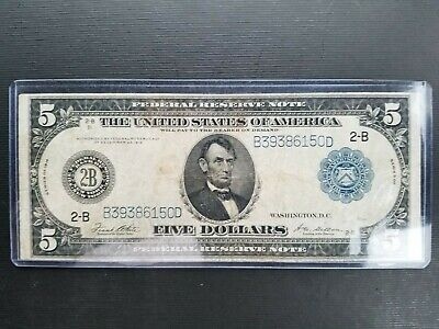 1914 Series $5 large federal Reserve Note New York old paper money blue seal