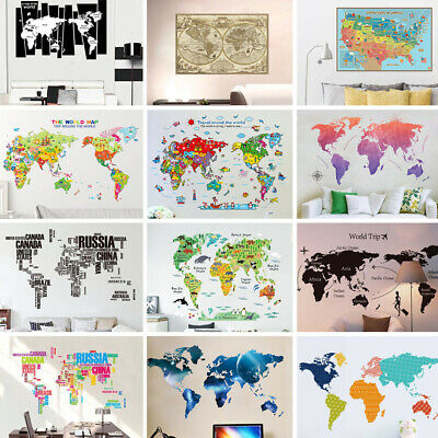 HOT SALE! Removable Art Vinyl World Map Wall Sticker Decal Mural Home Room Decor
