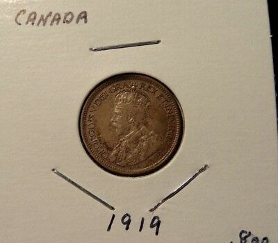 1919 Canada 5 Cent Silver Nice Grade Canadian Coin