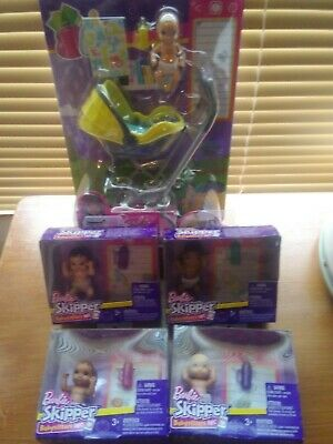 Barbie Skipper Babysitters Inc.~ 5 Different Babies & Car Seat Stroller Lot~