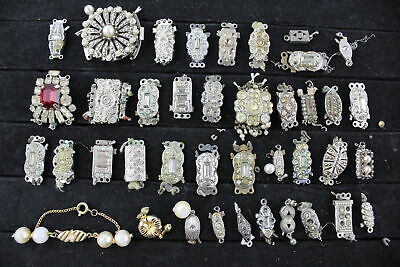 40 x VINTAGE CLASPS For Jewellery Making inc. Branded, Crystal, Sterling Silver