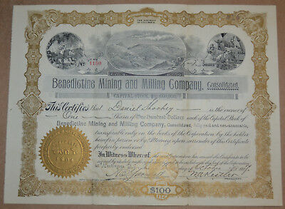 Benedictine Mining and Milling Company 1907 antique stock certificate Mojave