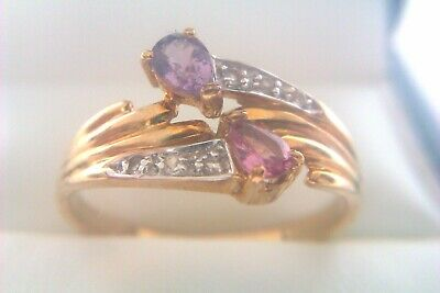 Beautiful Vintage 9ct Gold Pink Gemstone & Diamond Ladies Ring 2006