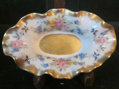Vtg Stafford Translucent China Dish Bowl Hand Painted Floral w GOLD Gilt Accents