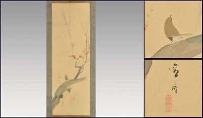 JAPANESE PAINTING HANGING SCROLL JAPAN PLUM BIRD ANTIQUE VINTAGE PICTURE 685i