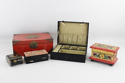 5 x Assorted Vintage Ladies TRINKET BOXES Inc Oriental, Brass Detail, Embroidery