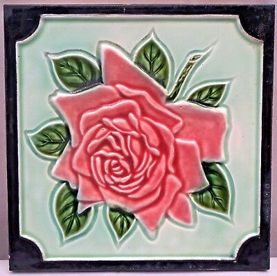 Tile Porcelain Ceramic Majolica Art Nouveau Vintage Rose Japan Dk Collectible#77