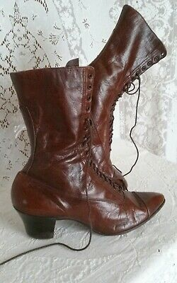 ANTIQUE VTG Early 1900's  Lace Up BOOT SHOE Victorian 5.5 Leather Brown Original