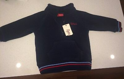 Boys SPROUT Navy Blue Fleece Blue Top Size 0 - New