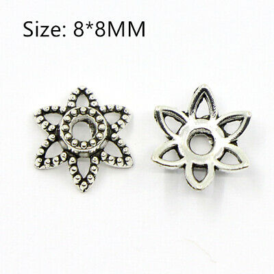 50PCS Tibetan Silver Flower Connector End Beads Caps Crafts Jewelry Making  8MM