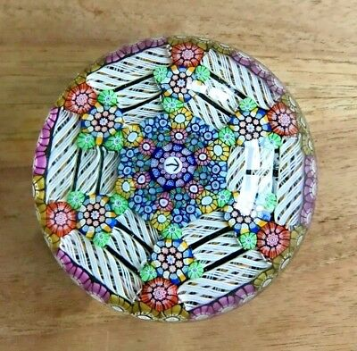 Vintage 1992 P Perthshire Magnum Art Glass Paperweight Millefiori Arrow Cane