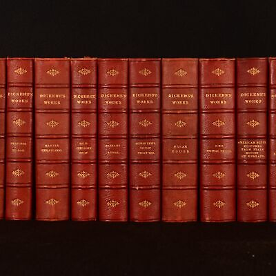 c1890-1895 17vols Works of Charles Dickens Crown Edition Leather Illustrated