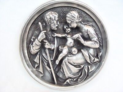 Antique Kunstanstalt WMF Geislingen Relief Relgious Silverplate Plaque