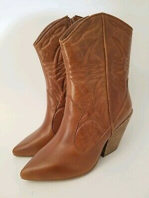 292882e55cef Jeffrey Campbell Midpark Western Boots Cowboy Floral Stitched Leather Sz  6.5 New