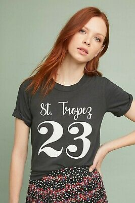 9a9e67e4 Anthropologie Sol Angeles St. Tropez 23 Black Graphic Tee Shirt Size P XS  New