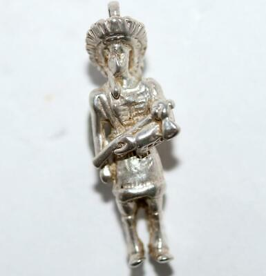 Indian Chief With Tomahawk Sterling Silver Vintage Bracelet Charm c. 1960's