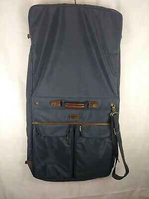 53e47996a9e3 VINTAGE FRENCH LUGGAGE Co Pinstripe Tapestry Garment Bag Suitcase ...