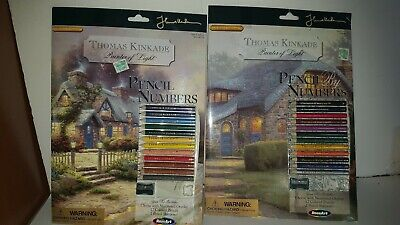 Thomas Kinkade Pencil By Numbers Lilac Cottage 1 & Teacup Cottage 2 Kits NEW
