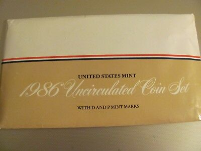 US Mint 1986 Uncirculated Coin Set, D & P Marks, Birthday or Anniversary Gift