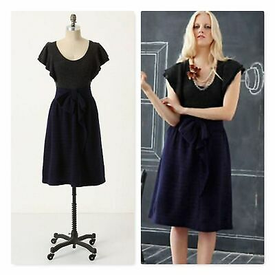 3bc29ecfee7 Anthropologie Moth CURTAIN CALL Navy blue Bow Front Knit Sweater Dress Large