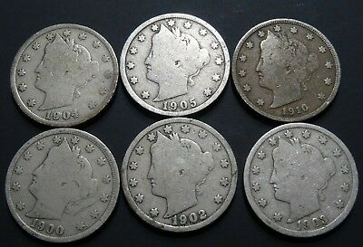 Lot of 6 Liberty Head V Nickels 1900-1910 Six Old USA Nickel 5-Cent Coins Total