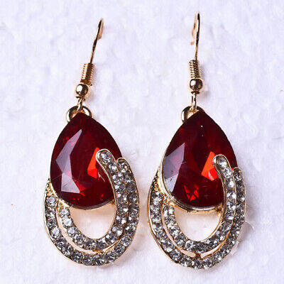 "BEAUTIFUL! 0.67X0.47""Natural Red Ruby &CZ Gold-plated Earrings  ED228*2"