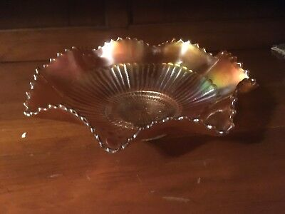 Vintage Marigold Northwood Stipled Ray Ruffled Bowl