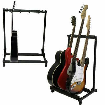 Triple Folding Multiple Guitar Holder Rack Stand Holds up to 3 Guitars
