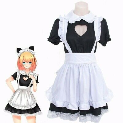 Women's Heart Open Chest Cosplay Maid Dress Lolita Maid Uniform Dress With Apron