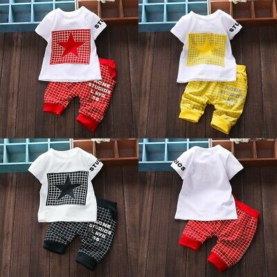 2Pcs Infant Child Boys Girl Letter Star Print Plaid Tops+Pants Outfits Clothes