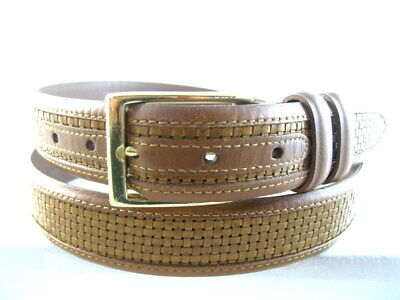 "Allen Edmonds ""WOVEN INLAY"" Dress Belt  #28090  Size 40 Walnut   (539)"